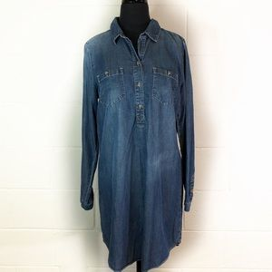 Luck Brand Chambray Popover Denim Dress
